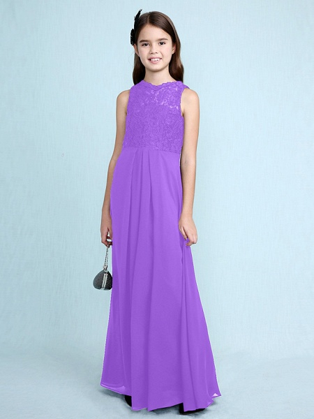 Sheath / Column Scoop Neck Floor Length Chiffon / Lace Junior Bridesmaid Dress With Lace / Natural_33