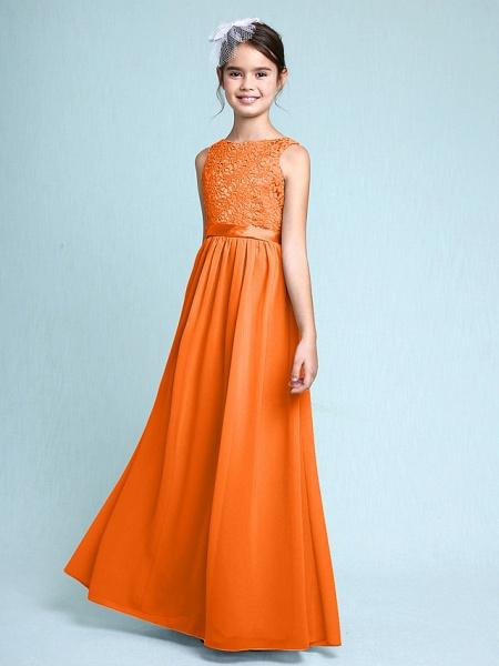 Sheath / Column Bateau Neck Floor Length Chiffon / Lace Junior Bridesmaid Dress With Lace / Natural_17