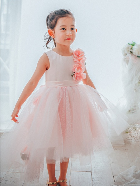 Ball Gown Asymmetrical Wedding / Birthday / Pageant Flower Girl Dresses - Satin / Tulle Sleeveless Jewel Neck With Petal_1