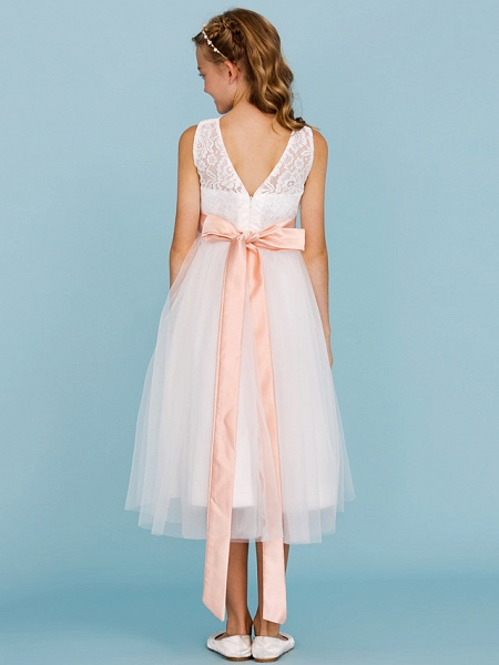 Princess / A-Line Crew Neck Tea Length Lace / Tulle Junior Bridesmaid Dress With Sash / Ribbon / Pleats / Wedding Party / Open Back / See Through_2