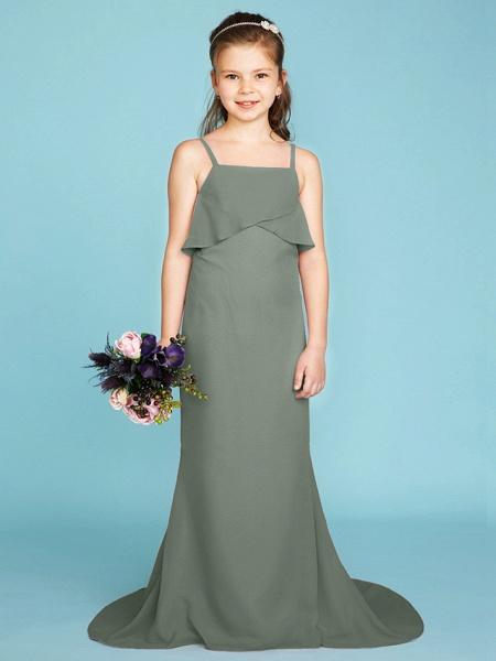 Sheath / Column Spaghetti Strap Sweep / Brush Train Chiffon Junior Bridesmaid Dress With Tiered / Wedding Party / Open Back_32