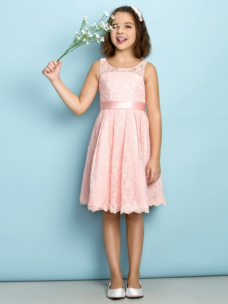 A-Line Scoop Neck Knee Length All Over Floral Lace Junior Bridesmaid Dress With Lace / Natural / Mini Me_1