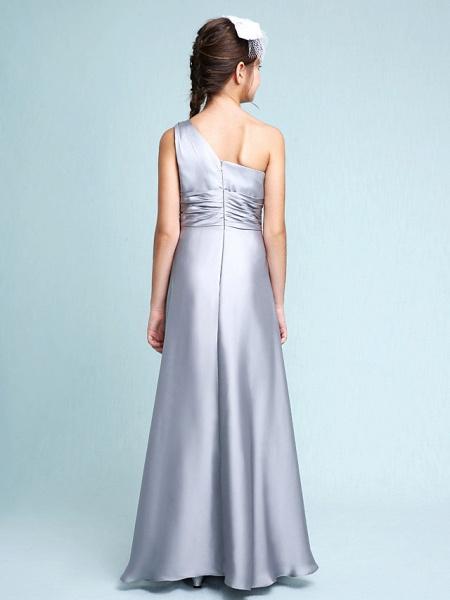 Sheath / Column One Shoulder Floor Length Chiffon Satin Junior Bridesmaid Dress With Ruched / Side Draping / Natural_2