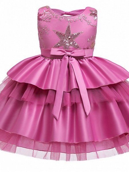 Ball Gown Knee Length Wedding / Party Flower Girl Dresses - Tulle / Mikado Sleeveless Jewel Neck With Bow(S) / Tier / Paillette_5