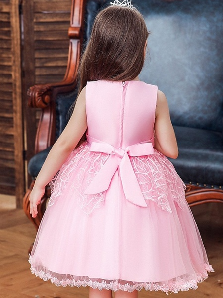 Princess / Ball Gown Floor Length Wedding / Party Flower Girl Dresses - Tulle Sleeveless Jewel Neck With Sash / Ribbon / Bow(S)_2