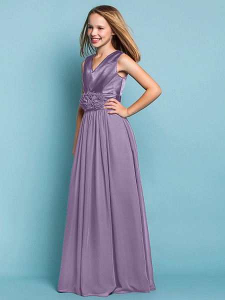 Sheath / Column V Neck Floor Length Chiffon Junior Bridesmaid Dress With Flower / Spring / Summer / Fall / Apple / Hourglass_24