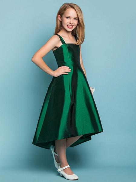 A-Line Straps Asymmetrical Taffeta Junior Bridesmaid Dress With Sash / Ribbon / Spring / Summer / Fall / Apple / Hourglass_2