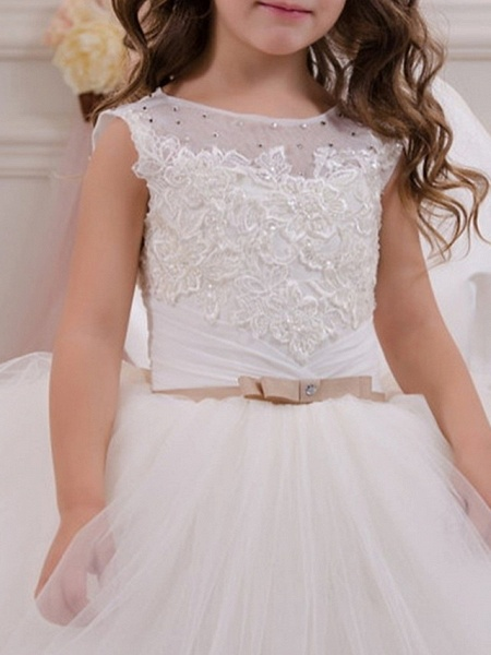 Ball Gown Floor Length Event / Party / Birthday Flower Girl Dresses - Polyester Sleeveless Jewel Neck With Appliques_2