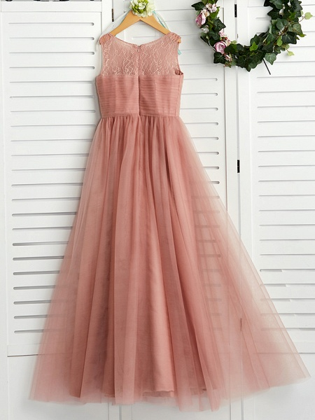 A-Line Crew Neck Maxi Lace / Tulle Junior Bridesmaid Dress With Lace / Pleats_2