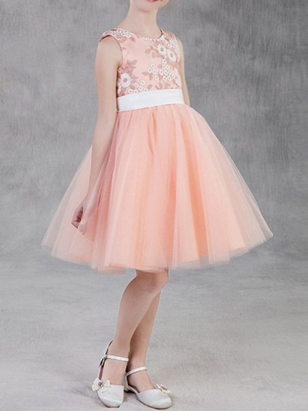 A-Line Knee Length Pageant Flower Girl Dresses - Polyester Sleeveless Jewel Neck With Appliques_4