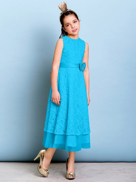 A-Line Jewel Neck Tea Length All Over Floral Lace Junior Bridesmaid Dress With Sash / Ribbon / Bow(S) / Flower / Natural_32