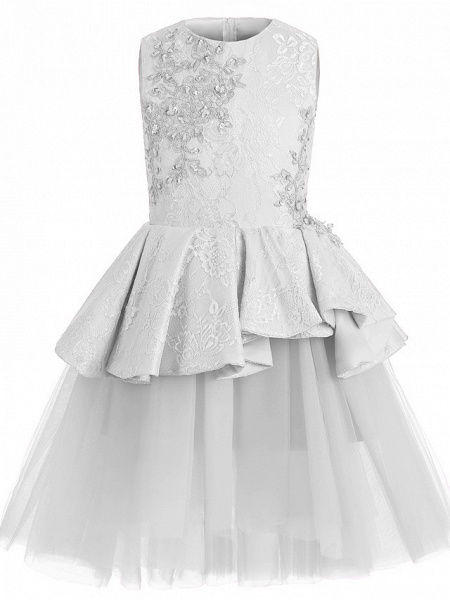 A-Line Knee Length Wedding / Birthday / Pageant Flower Girl Dresses - Tulle / Cotton Sleeveless Jewel Neck With Lace / Beading / Paillette_6