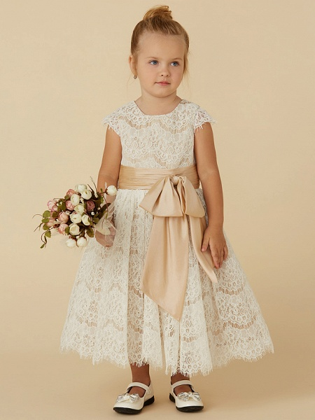 A-Line Tea Length Pageant Flower Girl Dresses - Lace / Taffeta Short Sleeve Jewel Neck With Sash / Ribbon / Bow(S) / Spring / Summer / Fall_1
