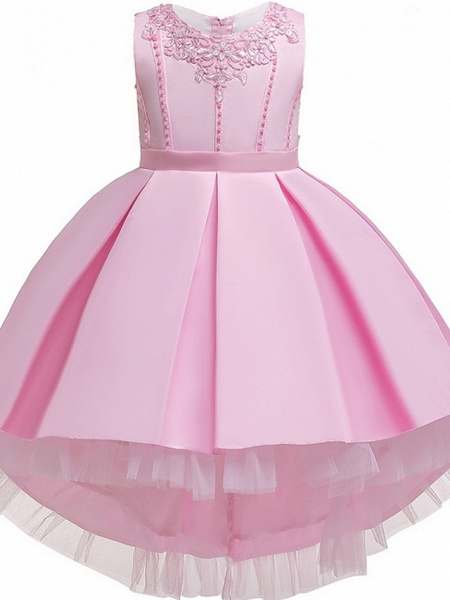 Princess / Ball Gown Knee Length Wedding / Party Flower Girl Dresses - Lace / Satin Sleeveless Jewel Neck With Sash / Ribbon / Pleats / Embroidery_10