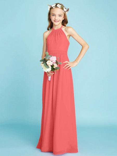 A-Line Halter Neck Floor Length Chiffon Junior Bridesmaid Dress With Sash / Ribbon / Natural_14