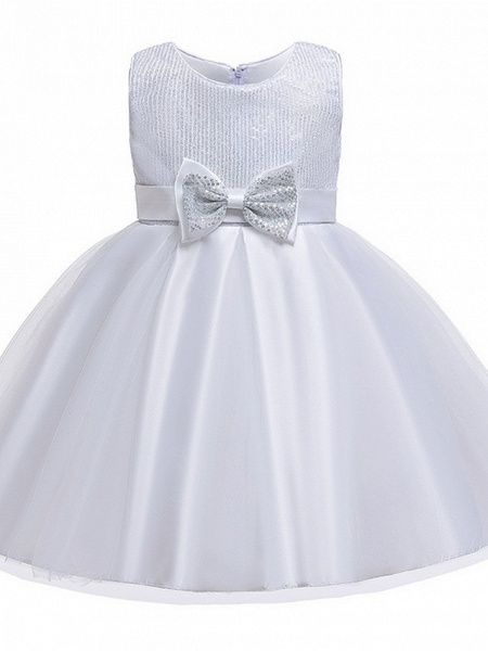 Princess / Ball Gown Knee Length Wedding / Party Flower Girl Dresses - Tulle Sleeveless Jewel Neck With Sash / Ribbon / Bow(S) / Paillette_9