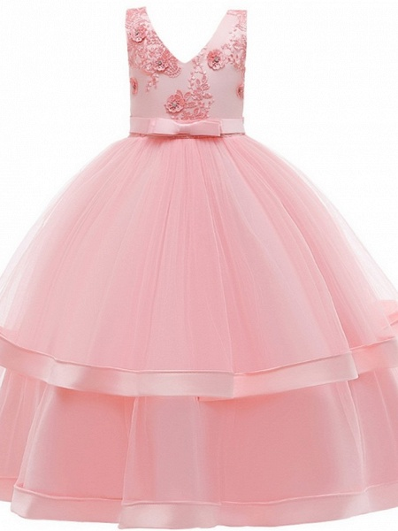 Princess / Ball Gown Floor Length Wedding / Party Flower Girl Dresses - Tulle Sleeveless V Neck With Sash / Ribbon / Bow(S) / Tier_7