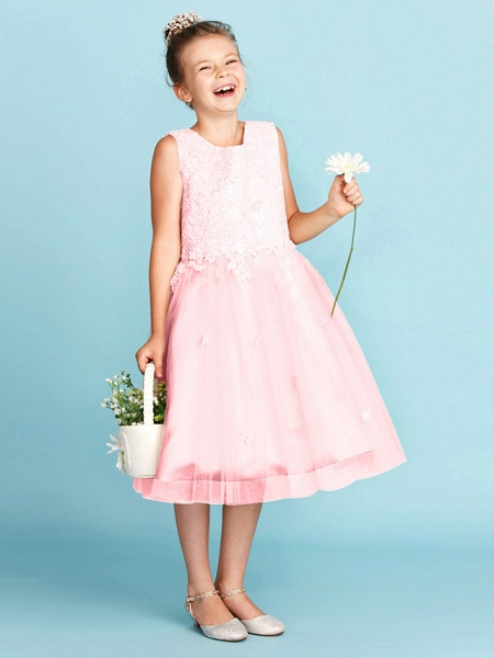 Princess / A-Line Jewel Neck Knee Length Lace / Tulle Junior Bridesmaid Dress With Bow(S) / Appliques / Wedding Party_23