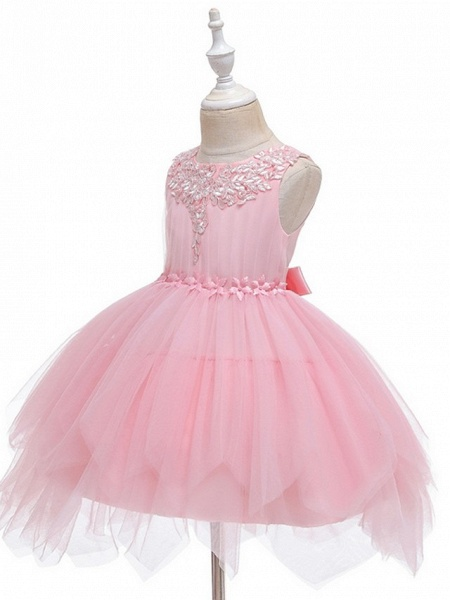 Princess / Ball Gown Short / Mini Wedding / Party Flower Girl Dresses - Tulle Sleeveless Jewel Neck With Sash / Ribbon / Appliques_5