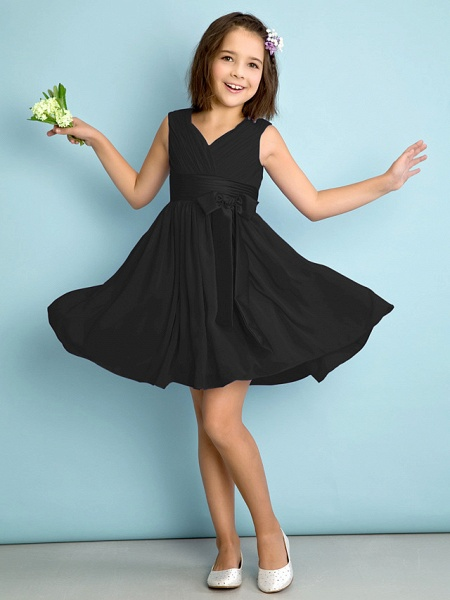 A-Line V Neck Knee Length Chiffon Junior Bridesmaid Dress With Bow(S) / Criss Cross / Natural_38