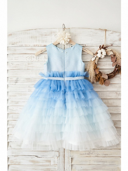 Ball Gown Knee Length Wedding / Birthday Flower Girl Dresses - Tulle Sleeveless Jewel Neck With Belt / Crystals_2