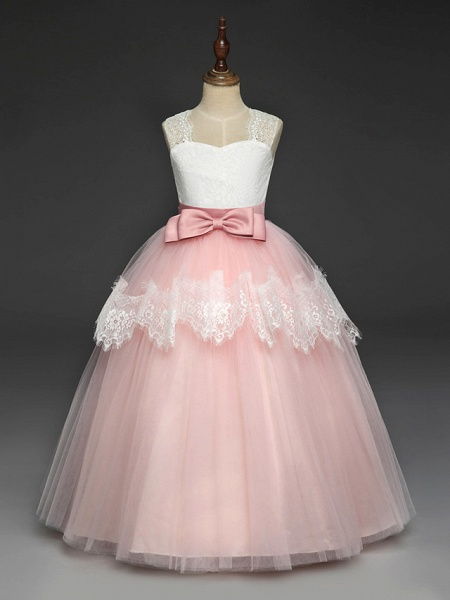 Princess Floor Length Wedding / Party / Pageant Flower Girl Dresses - Lace / Tulle / Mikado Sleeveless Square Neck With Bow(S) / Splicing_6