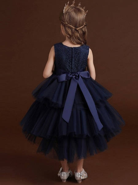 Princess / Ball Gown Asymmetrical Wedding / Party Flower Girl Dresses - Lace / Tulle Sleeveless Jewel Neck With Belt / Bow(S) / Tier_8