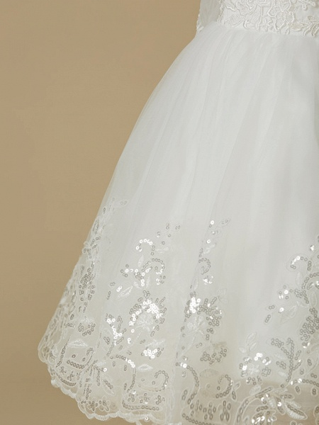 Princess Knee Length Wedding / First Communion Flower Girl Dresses - Lace / Tulle Long Sleeve Jewel Neck With Lace / Appliques_6