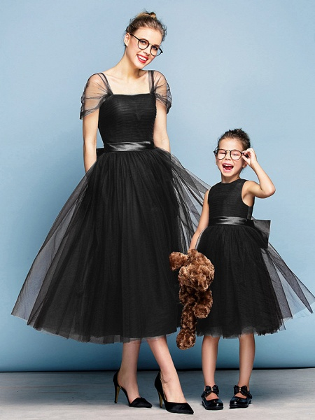 Princess Tea Length Party / Prom / Formal Evening Flower Girl Dresses - Tulle Short Sleeve Square Neck With Bow(S) / Ruched / Elegant_38