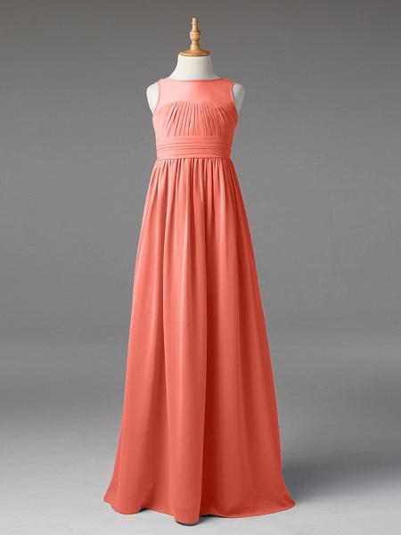 Princess / A-Line Jewel Neck Floor Length Chiffon Junior Bridesmaid Dress With Sash / Ribbon / Pleats_29