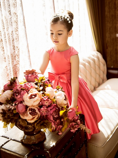 Princess / A-Line Tea Length Pageant Flower Girl Dresses - Satin Short Sleeve Jewel Neck With Bow(S)_7