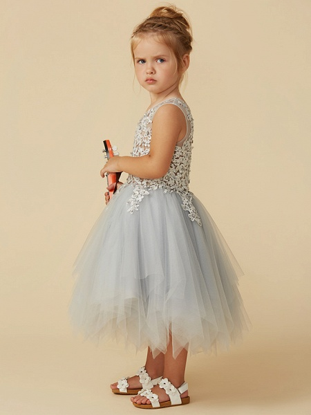 Princess Tea Length Pageant Flower Girl Dresses - Tulle Sleeveless Jewel Neck With Lace / Appliques_3