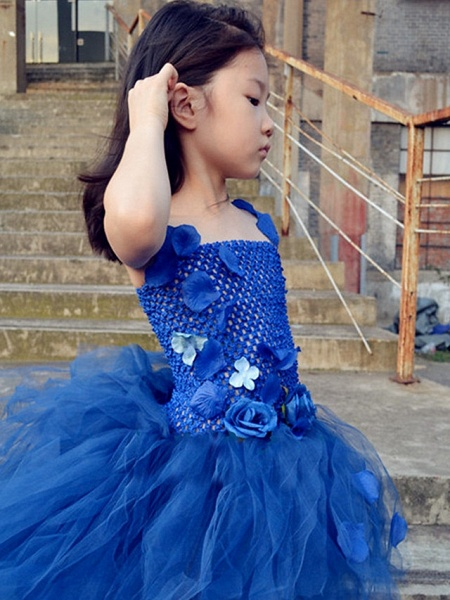 Ball Gown Asymmetrical Pageant Flower Girl Dresses - Tulle / Stretch Satin / Polyester Sleeveless One Shoulder With Flower_5