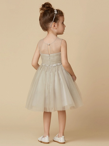 Princess Knee Length Pageant Flower Girl Dresses - Satin Sleeveless Scoop Neck With Sash / Ribbon / Criss Cross / Appliques_2
