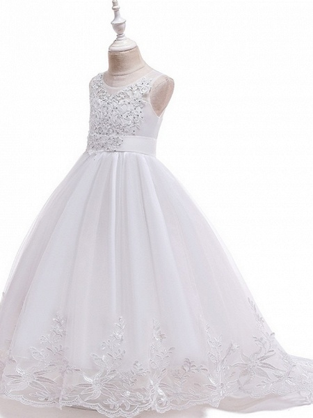Princess / Ball Gown Court Train Wedding / Party Flower Girl Dresses - Tulle Sleeveless Jewel Neck With Bow(S) / Beading / Appliques_8