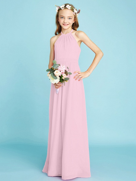 A-Line Halter Neck Floor Length Chiffon Junior Bridesmaid Dress With Sash / Ribbon / Natural_11