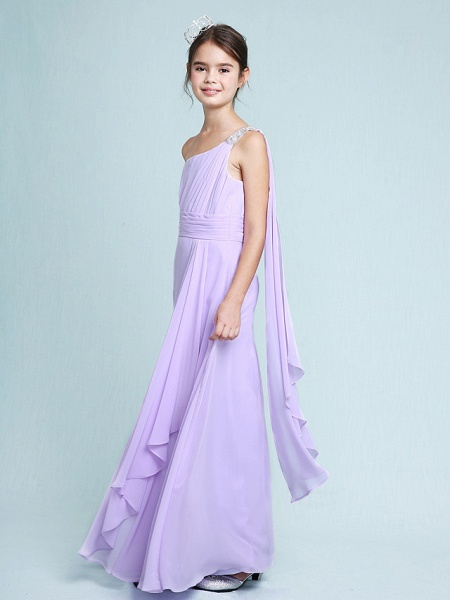 Sheath / Column One Shoulder Floor Length Chiffon Junior Bridesmaid Dress With Ruched / Beading / Side Draping / Natural_4