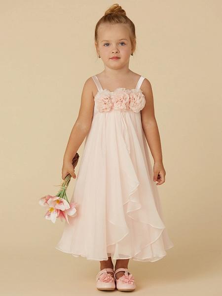 Sheath / Column Tea Length Pageant Flower Girl Dresses - Chiffon Sleeveless Straps With Flower_1