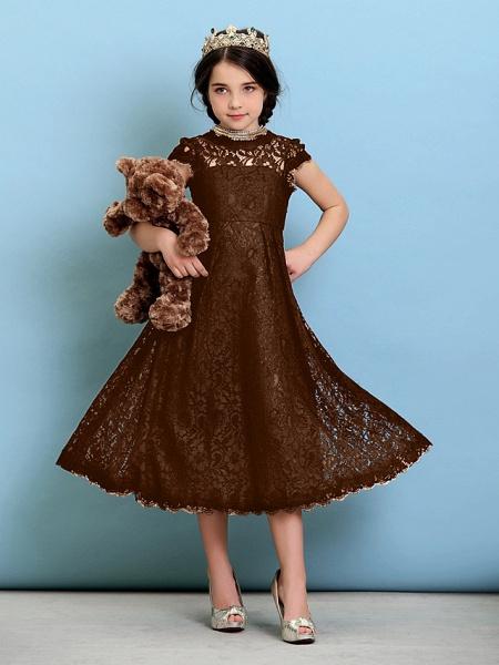 Princess / A-Line Jewel Neck Tea Length Lace Junior Bridesmaid Dress With Pleats / Natural_24
