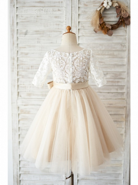 Ball Gown Knee Length Wedding / Birthday Flower Girl Dresses - Lace / Tulle Half Sleeve Jewel Neck With Belt / Buttons_2