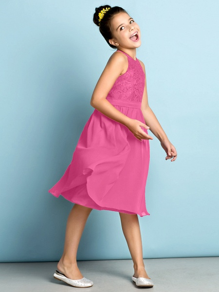 A-Line Jewel Neck Knee Length Chiffon / Lace Junior Bridesmaid Dress With Lace / Natural / Mini Me_25