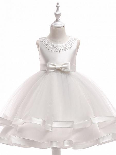 A-Line Knee Length Wedding / Birthday / Pageant Flower Girl Dresses - Cotton Blend Sleeveless Jewel Neck With Sash / Ribbon / Pearls / Trim_5