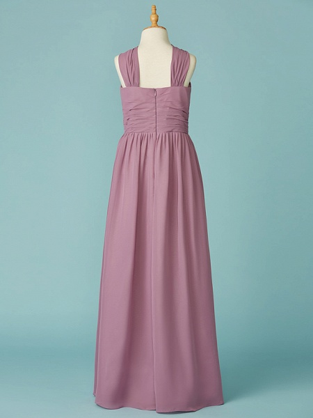A-Line V Neck Floor Length Chiffon Junior Bridesmaid Dress With Ruffles_2