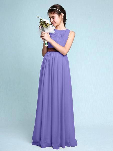 Sheath / Column Scoop Neck Floor Length Chiffon Junior Bridesmaid Dress With Draping / Natural_39