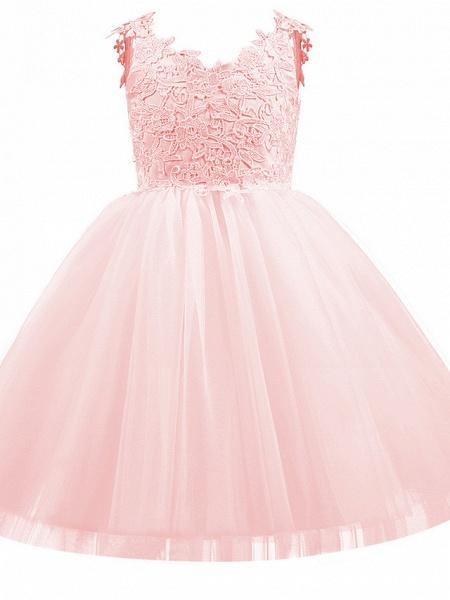 Princess Short Length Wedding / First Communion / Birthday Flower Girl Dresses - Taffeta / Tulle Sleeveless V Neck With Bow(S) / Appliques_4