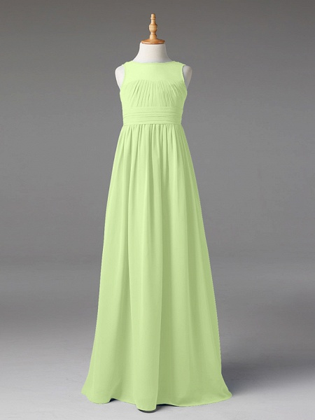 Princess / A-Line Jewel Neck Floor Length Chiffon Junior Bridesmaid Dress With Sash / Ribbon / Pleats_37