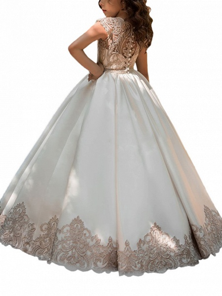 Ball Gown Sweep / Brush Train Wedding / Birthday / Pageant Flower Girl Dresses - Lace / Satin Chiffon Cap Sleeve Jewel Neck With Acrylic / Appliques_3
