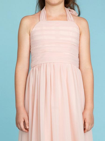 Princess / A-Line Halter Neck Floor Length Chiffon Junior Bridesmaid Dress With Pleats / Ruched_9