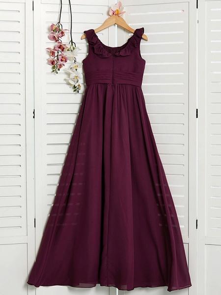 A-Line Jewel Neck Floor Length Chiffon Junior Bridesmaid Dress With Ruffles / Ruching_2