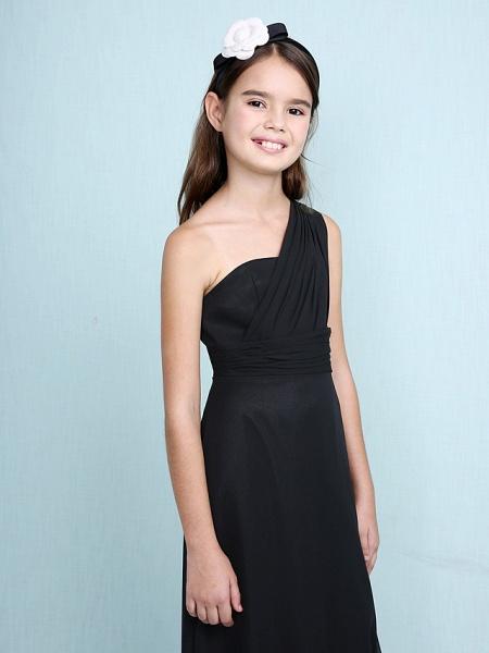 Sheath / Column One Shoulder Floor Length Chiffon Junior Bridesmaid Dress With Side Draping / Natural_6